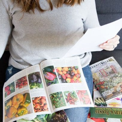 A brunette woman consults a piece of paper while looking at seed catalogs.