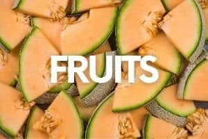 """Cantaloupe slices with a text overlay that says """"Fruits"""""""