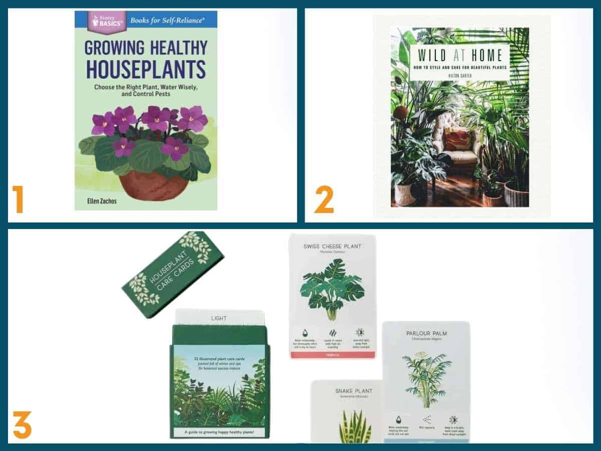 A collage of 3 gardening books.