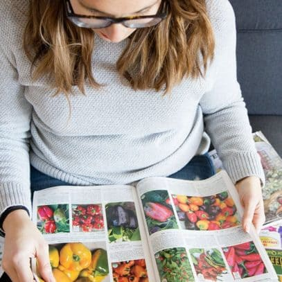 A brunette woman looks through seed catalogs.