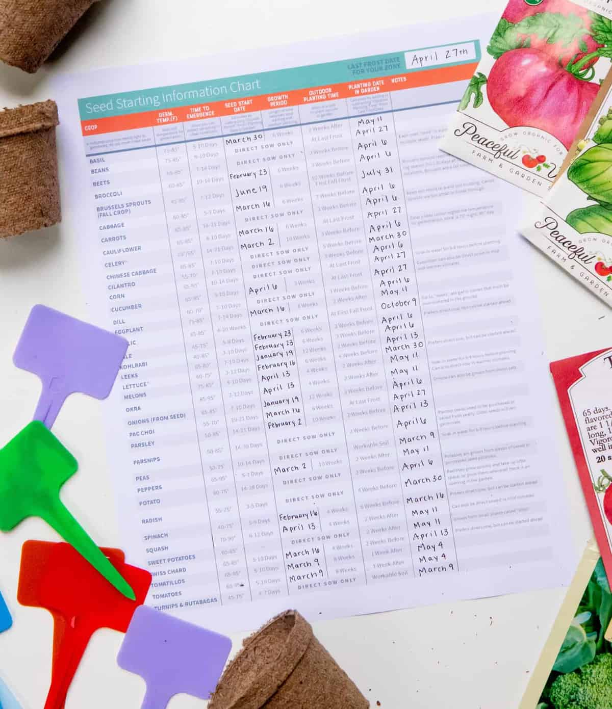 Seed Starting Information Chart and Printable surrounded by seed packets and plant markers