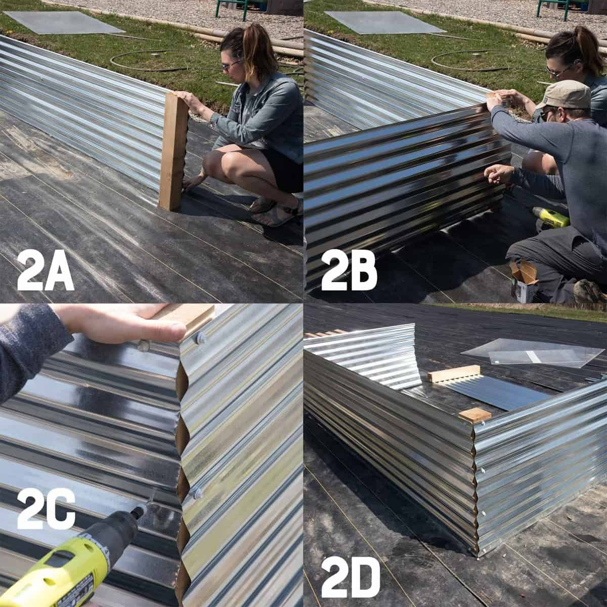 Four image collage of building the second and third sides of a galvanized steel raised garden bed