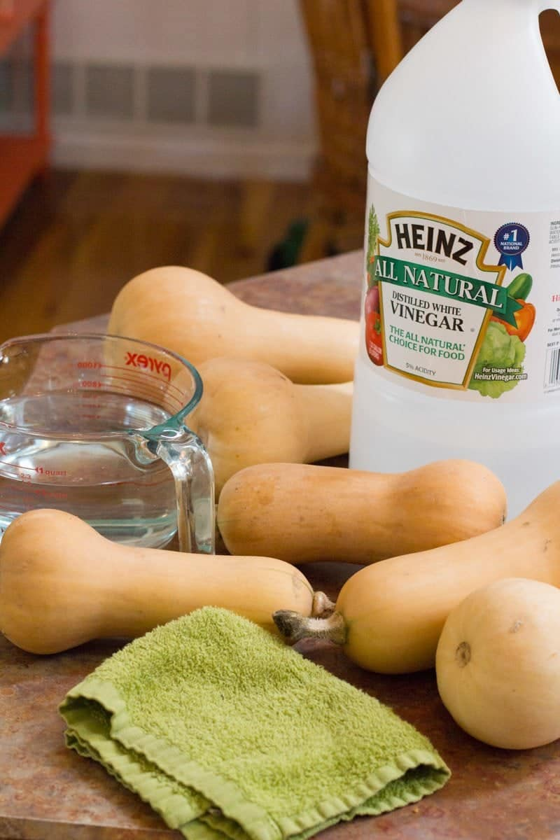 Butternut squash lay on a table in front of a jug of white vinegar.