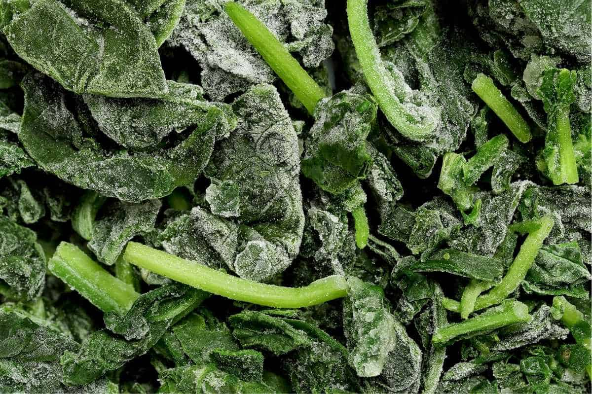 Frozen spinach leaves and stems