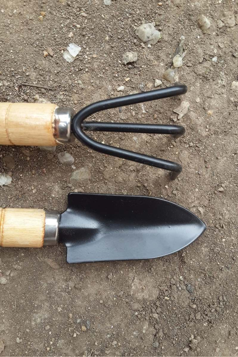 A trowel and a cultivator lay side by side in soil.