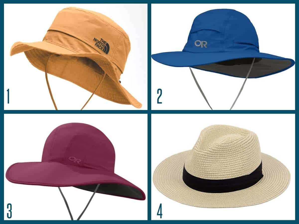 A collage image of 4 gardening hats