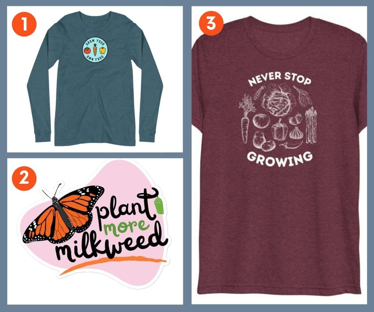 Three gifts for gardeners from the Growfully shop: 2 shirts and a sticker