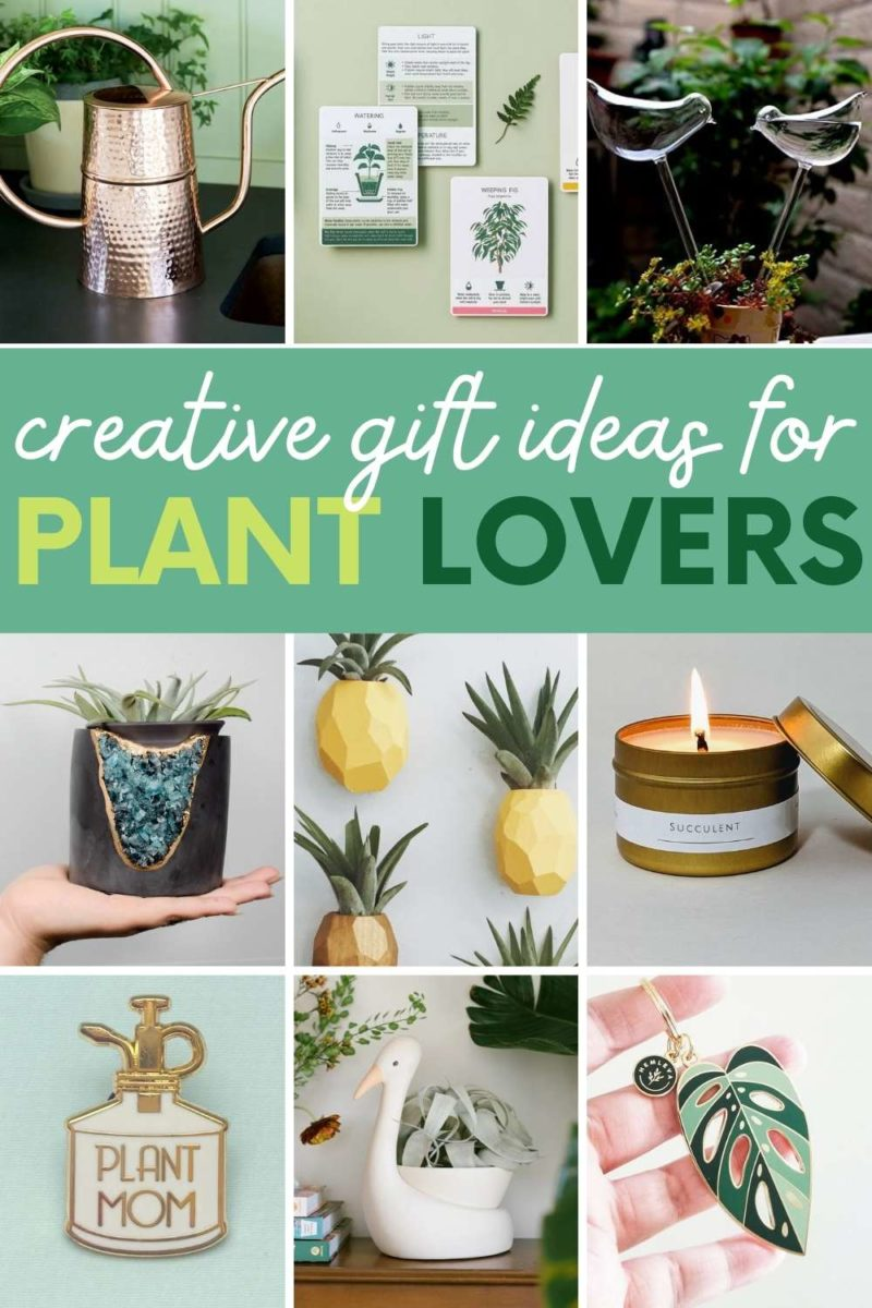 """A collage of gifts for plant lovers, with a text overlay that reads """"Creative Gift Ideas for Plant Lovers"""""""