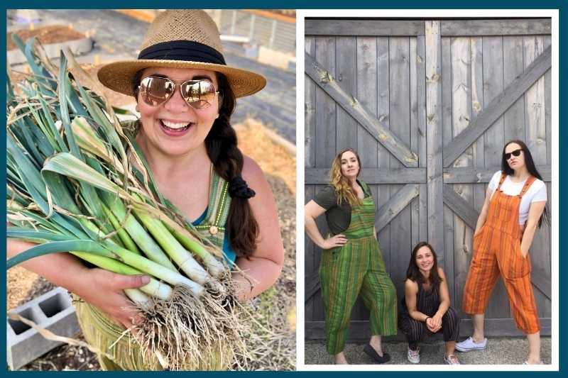 On the left, a woman in overalls and a sunhat holds a bunch of leeks and smiles at the camera. On the right is a marketing photo for handmade overalls.