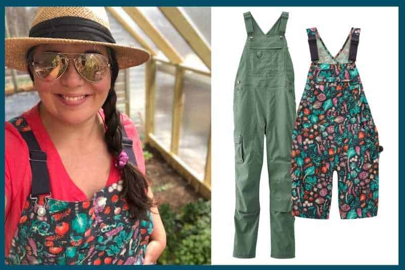 On the left, A brunette woman in a pink shirt, patterned overalls, sunglasses, and a sun hat smiles at the camera. On the right are two pairs of cute overalls.