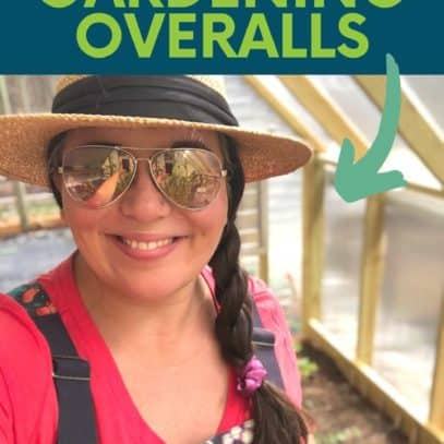 """A brunette woman in a pink shirt, patterned overalls, sunglasses, and a sun hat smiles at the camera. A text overlay reads """"Our Favorite Gardening Overalls."""""""