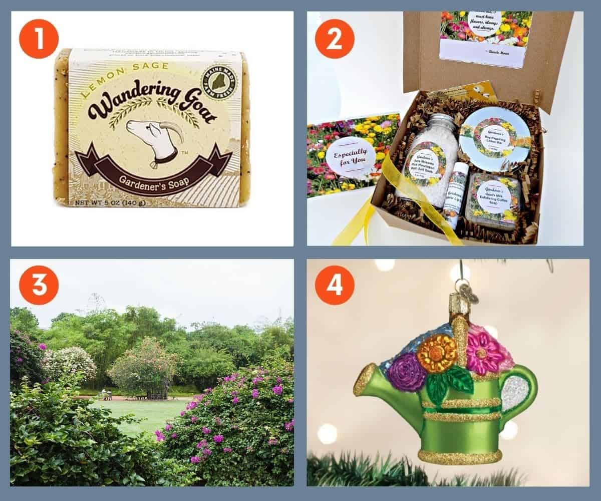 Four gifts for gardeners: soap, spa items, a botanical gardens membership, and an ornament