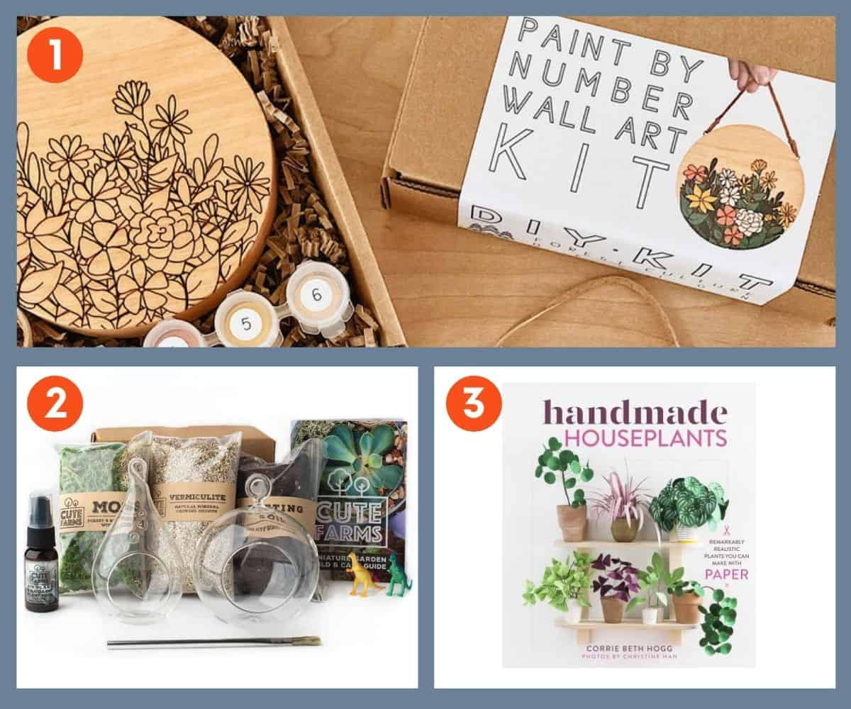 Three creative gifts for plant lovers: a wall art kit, terrarium kit, and art book.