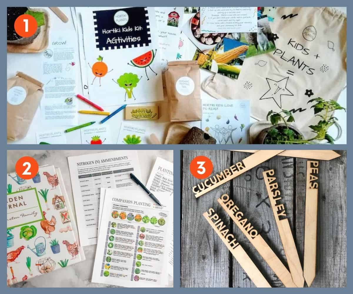 Three gifts for the creative gardener: a kids' gardening kit, printable garden journal pages, and plant markers.