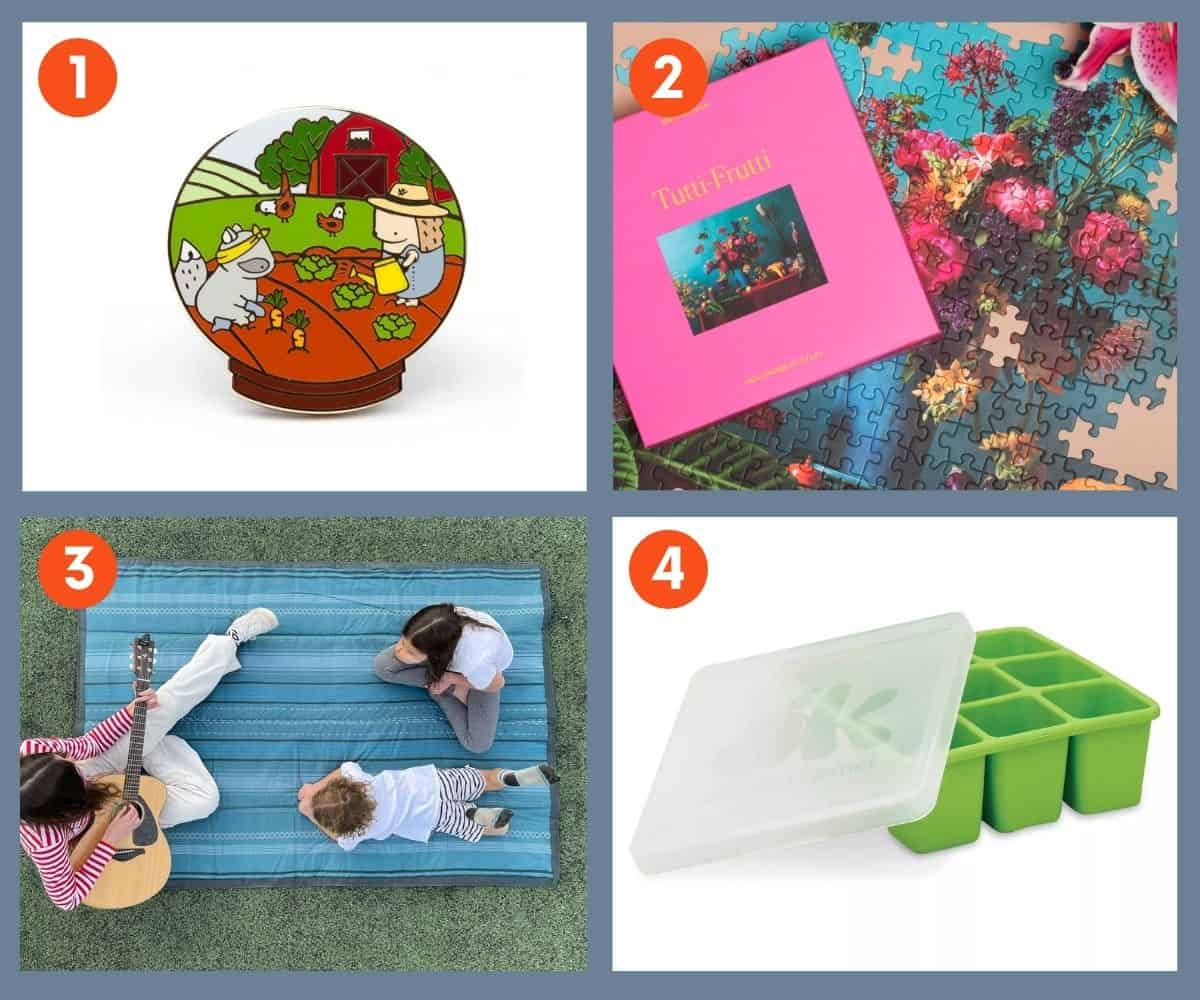 A collage of images: a pin, a puzzle, a blanket for the garden, and an herb freezing tray