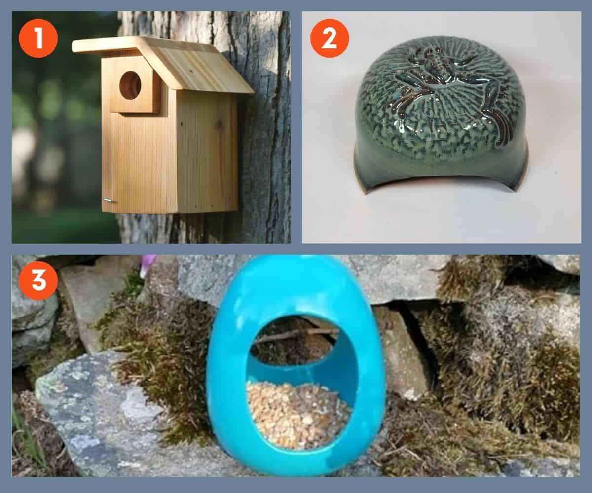 A bird house, a toad house, and a bird feeder in a collage