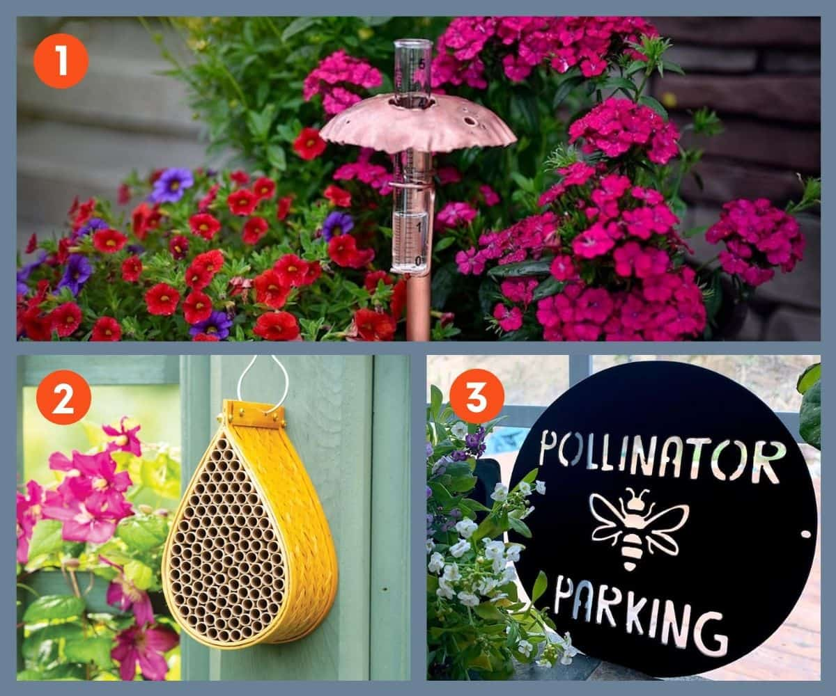 Three garden decor gifts: a rain gauge, bee house, and 'pollinator parking' sign.