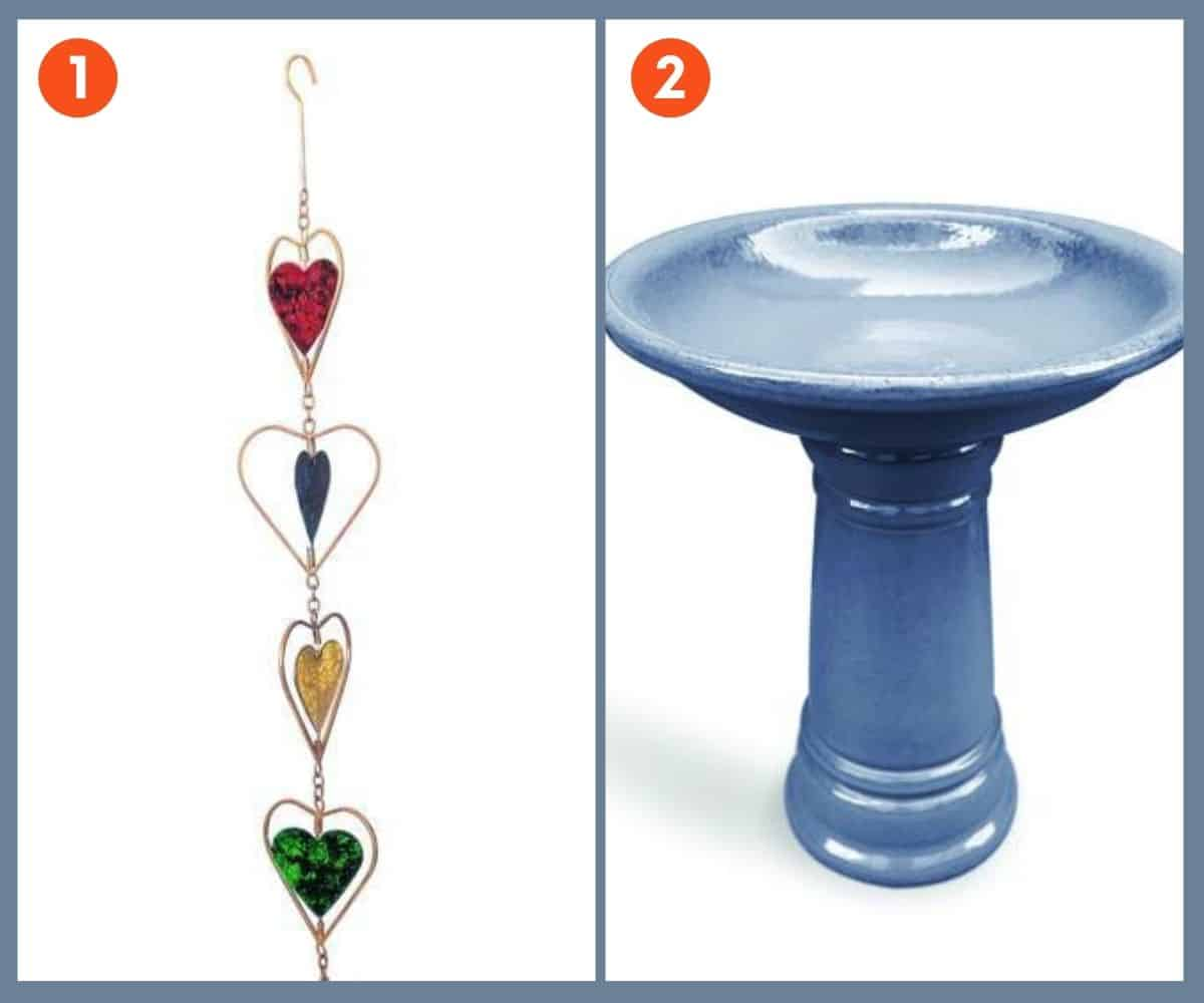 A split image shows a rain chain on the left and a bird bath on the right.