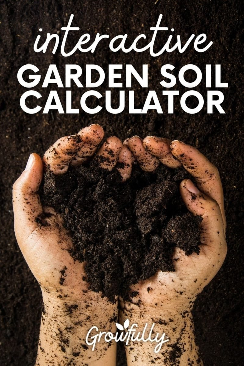 """Two hands hold a handful of soil. A text overlay reads """"Interactive Garden Soil Calculator."""""""