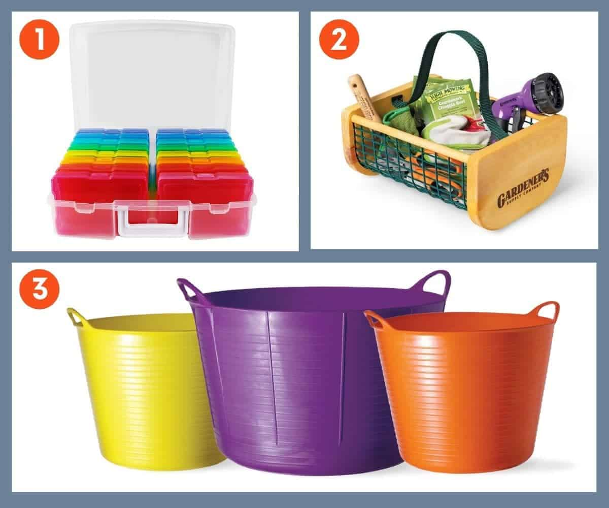 A collage of images of garden storage items