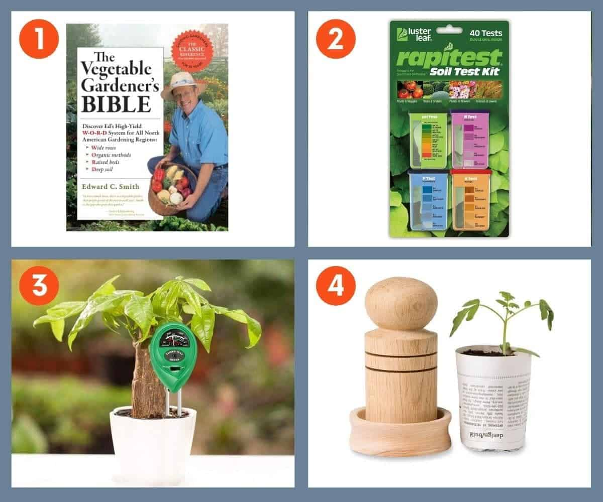 A collage of images of stocking stuffer ideas for gardeners