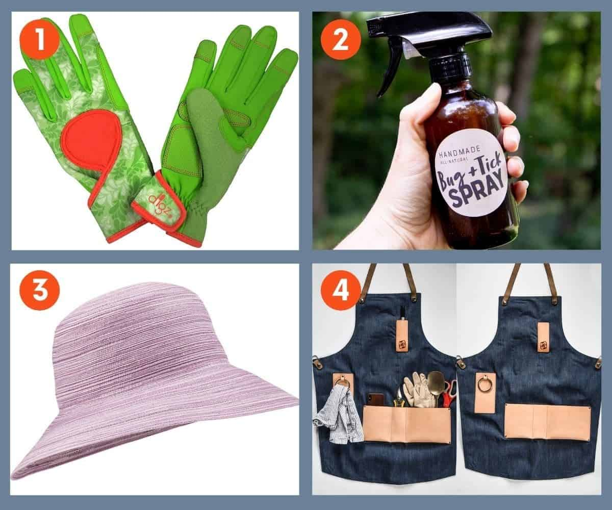 A collage of images of gifts for gardeners that people can wear: gloves, bug spray, a hat, and an apron