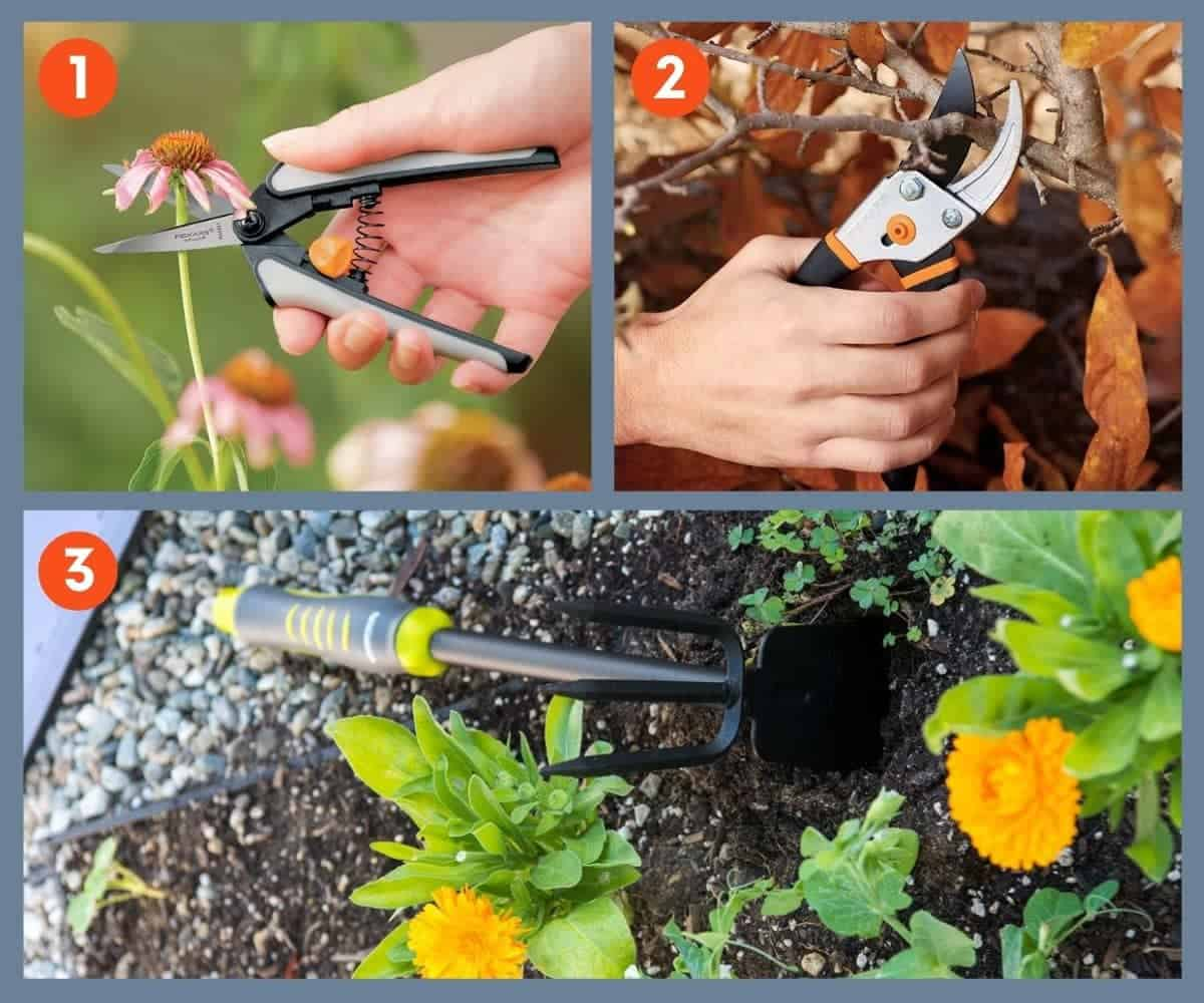 Three images of gardening tools: micro-snips, a pruner, and hoe & cultivator
