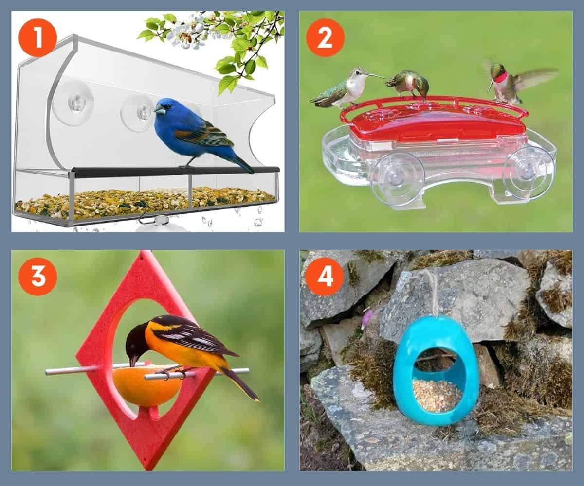 A collage of four types of bird feeders