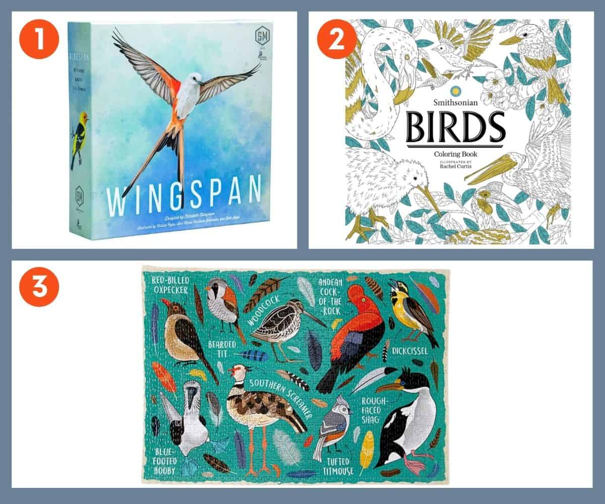 A collage of entertainment gifts for bird lovers - a board game, coloring book, and puzzle