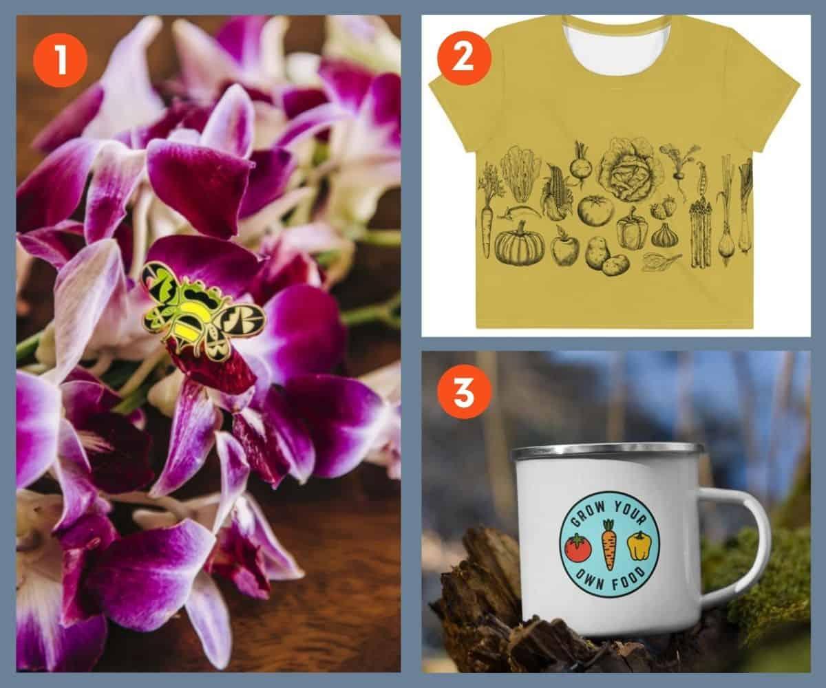 Three gift ideas: a bee pin, a crop tee, and an enamel mug
