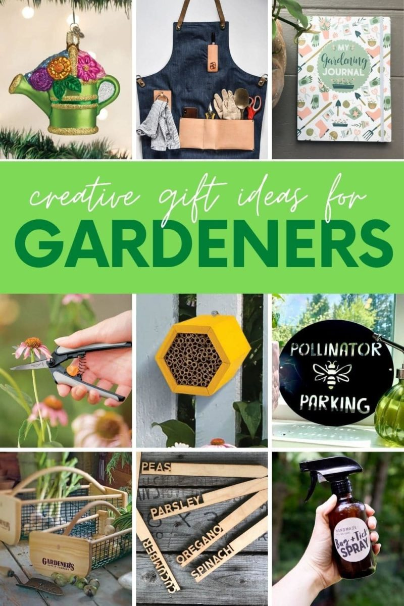 """A collage of gifts for garden lovers, with a text overlay that reads """"Creative Gift Ideas for Gardeners"""""""