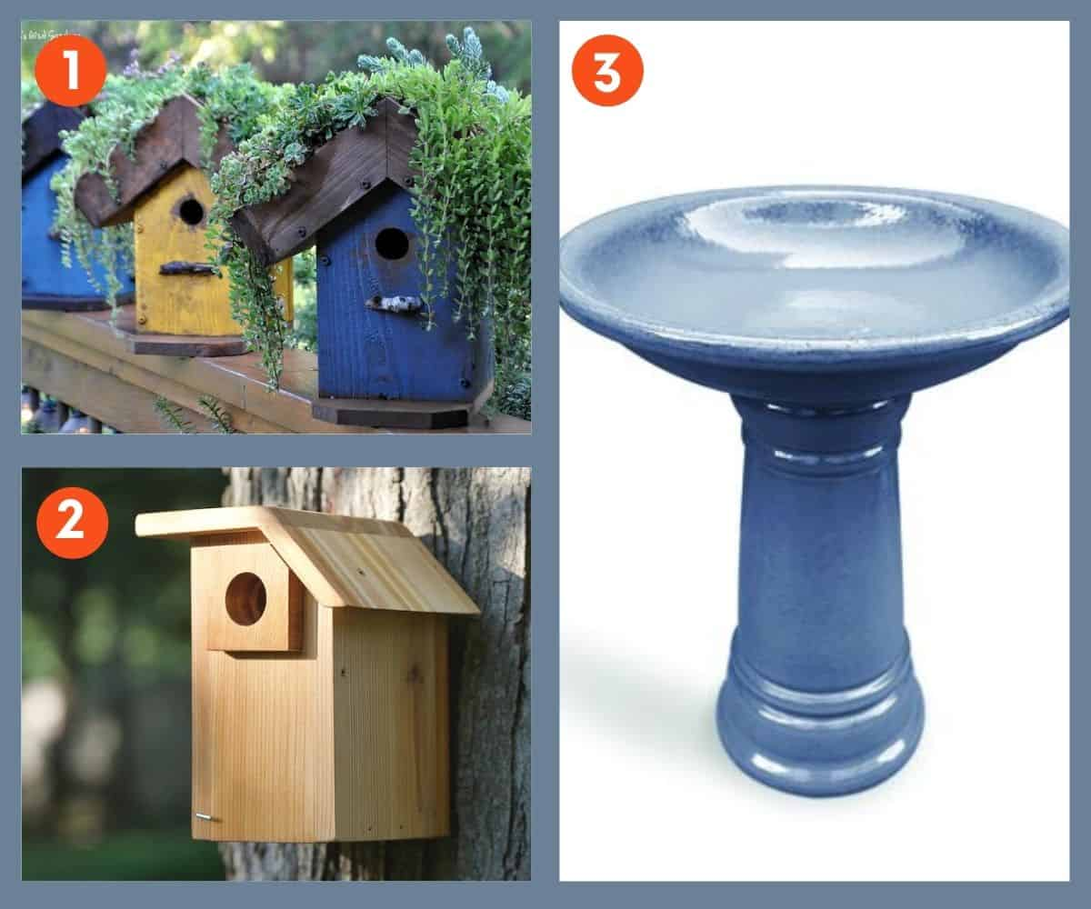 Collage of two bird houses and a bird bath
