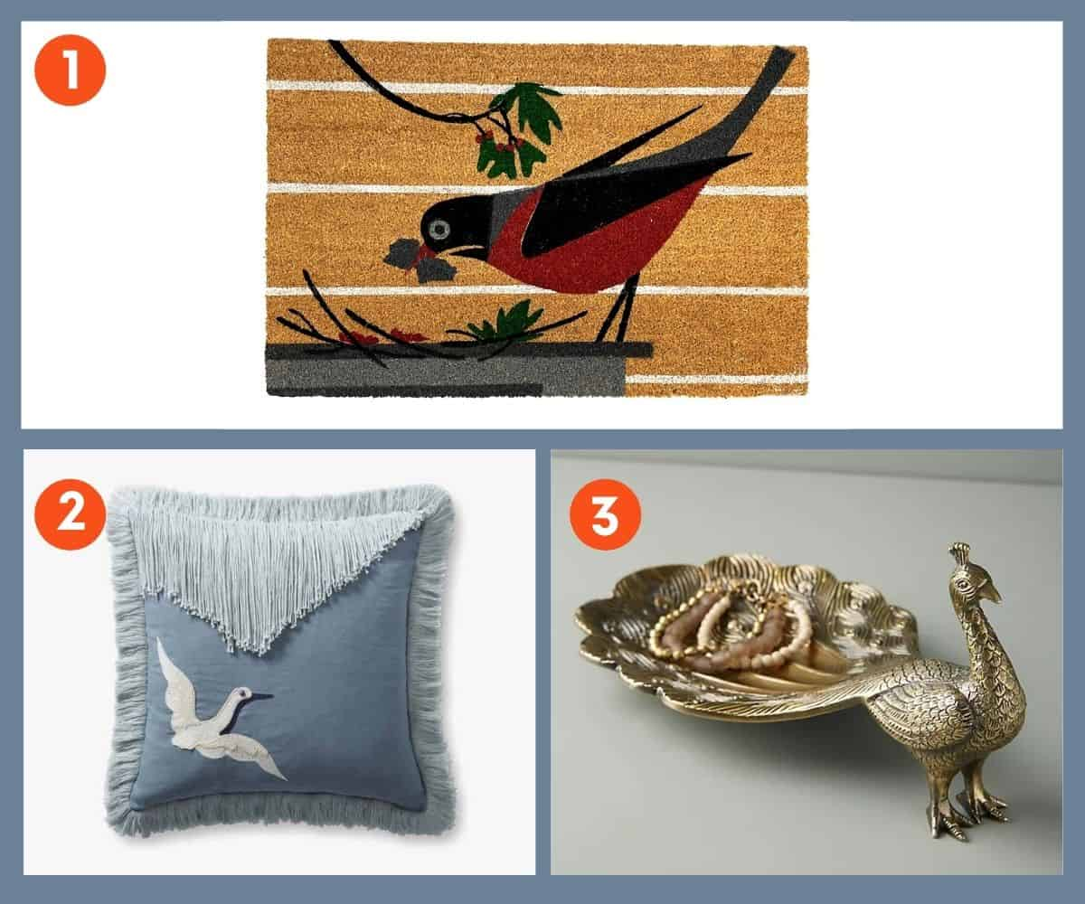 Three home goods that make great gifts for bird lovers - door mat, a throw pillow, and a trinket tray