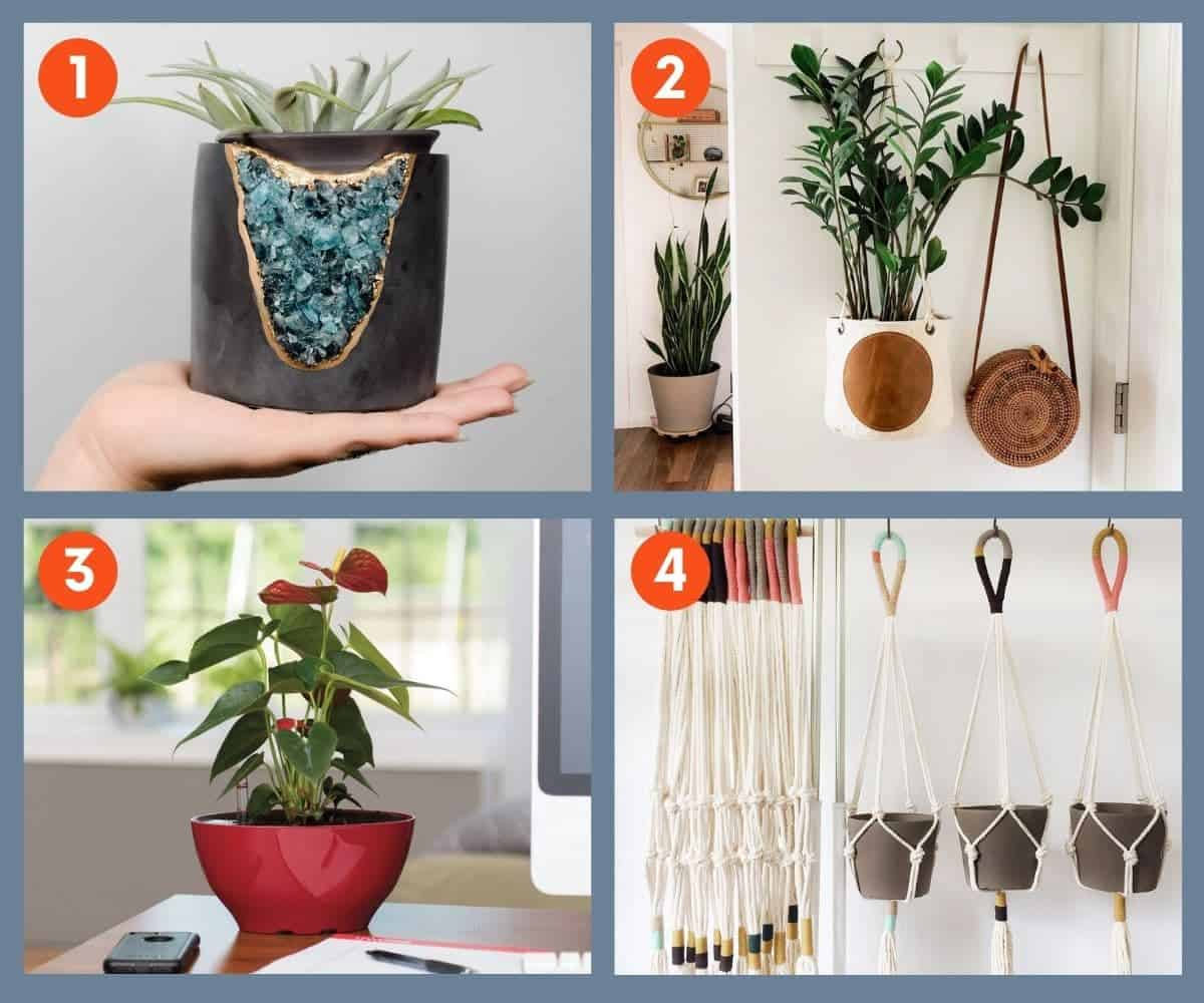 Four planters and plant hangers that make great gifts