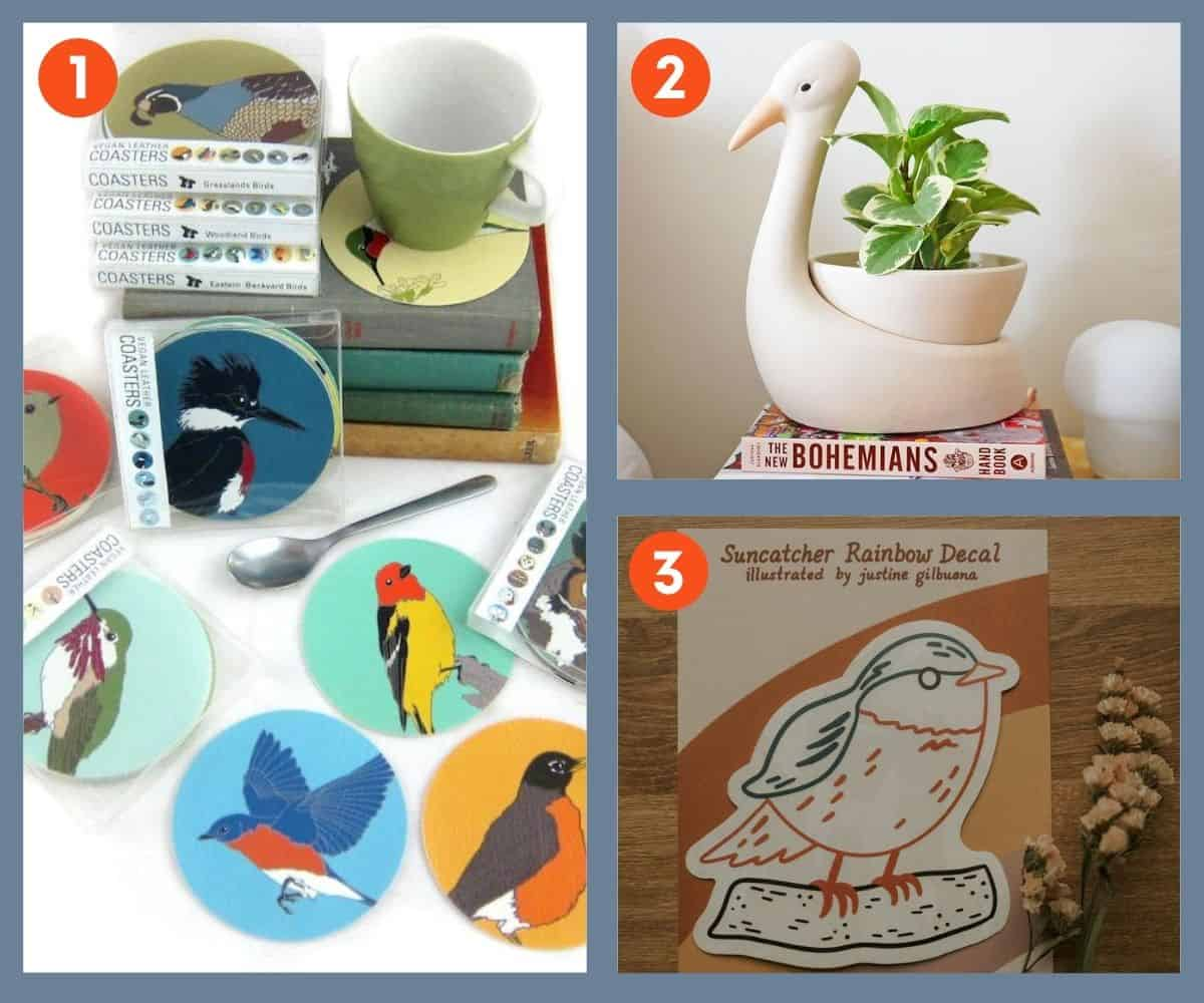 A collage of three gifts for bird lovers: coasters, a planter pot, and a suncatcher.