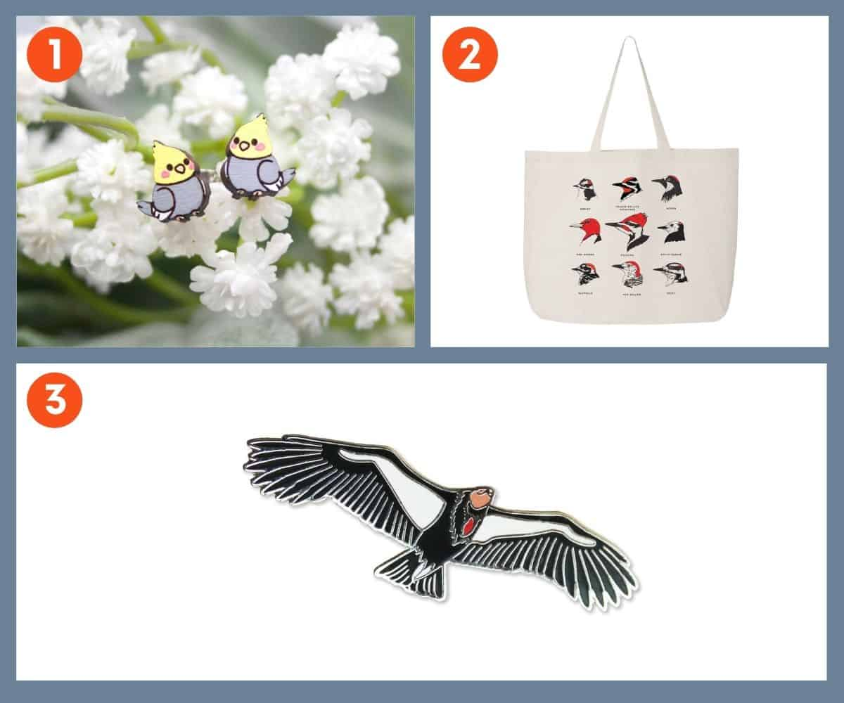Three gifts for bird lovers - earrings, a tote, and an enamel pin