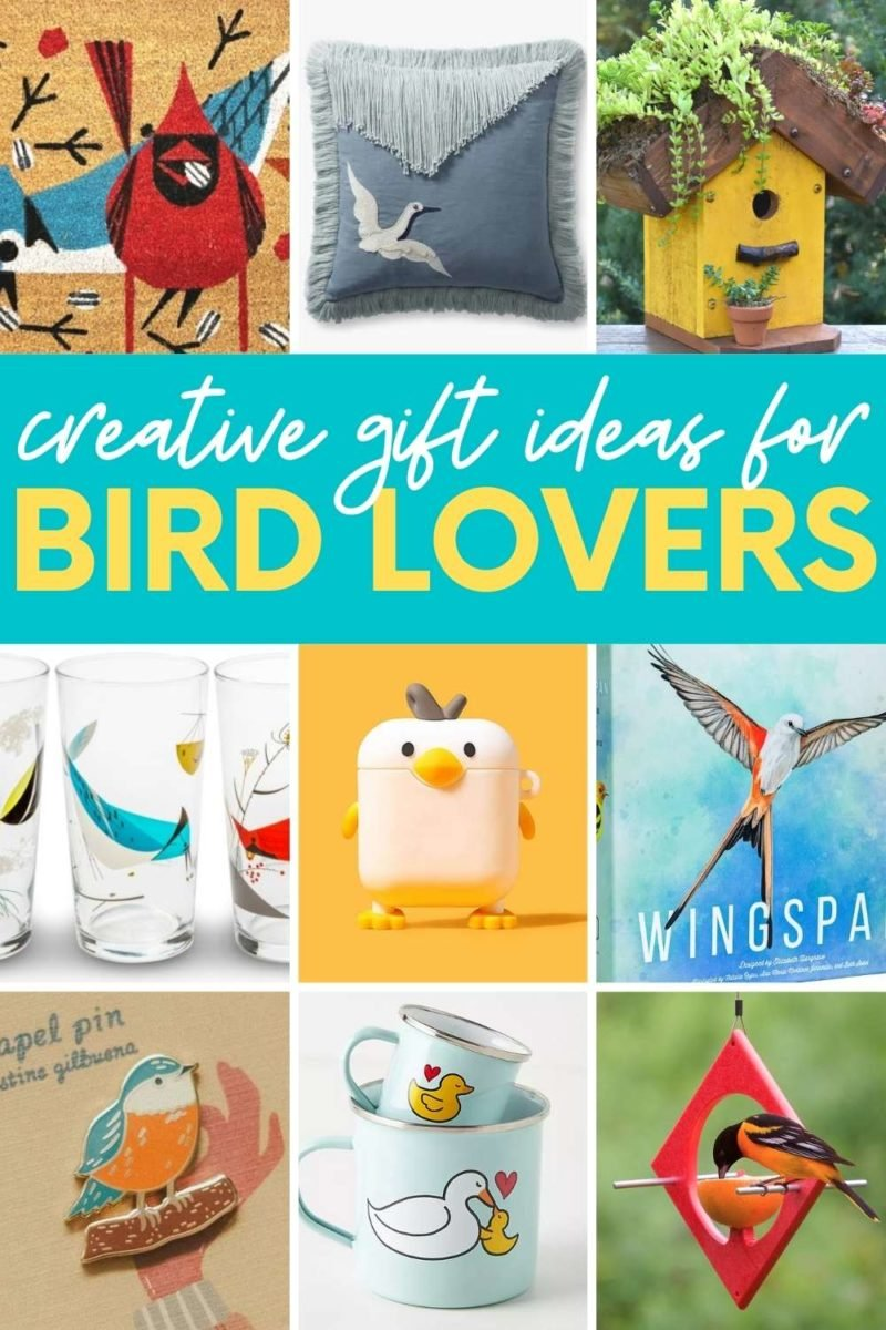 """A collage of gifts for bird lovers. A text overlay reads """"creative gift ideas for bird lovers"""""""